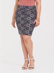 Navy Floral Foldover Mini Skirt