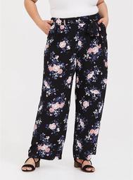 Black Floral Challis Wide Leg Pant