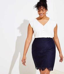 LOFT Plus Scalloped Lace Pencil Skirt