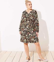 LOFT Plus Floral Ruffle Split Neck Dress