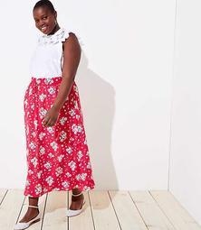 LOFT Plus Floral Smocked Maxi Skirt