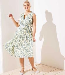 LOFT Plus Vine Ruffle Neck Midi Dress