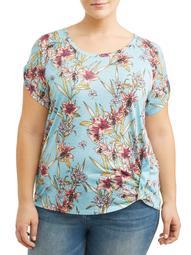 Women's Plus Size Short Sleeve Printed Jersey Burnout Tee