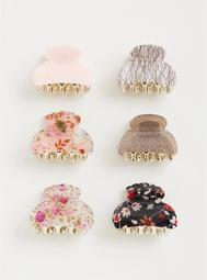 Floral Hair Claws - Pack of 6