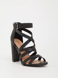 Black Faux Leather Strappy Heel (Wide Width)