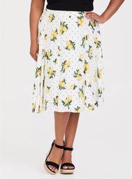 White Lemon Dot Challis Midi Skirt