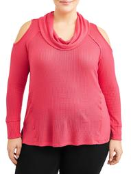 Women's Plus Size Cowl Neck Cold Shoulder Top