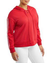 Women's Plus Size Contrast Striping Lace-Up Hoodie