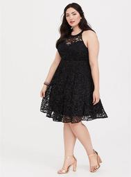 Special Occasion Black Lace Halter Skater Dress