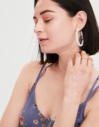 AE White Seed Bead Hoop Earring