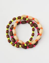 AEO Neon + Wood Bracelets 3-Pack