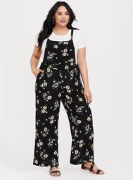 Black Floral Gauze Wide Leg Jumper
