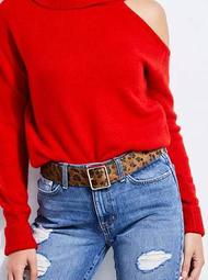 Hana Leopard Faux Calf-Hair Belt