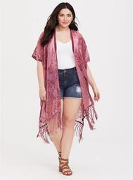 Dark Pink Burnout Velvet Kimono