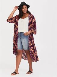 Burgundy Floral Scarf Print Kimono