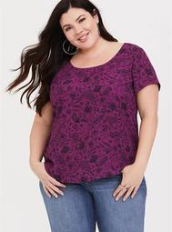 Abbey - Purple Paisley Cage Back Blouse