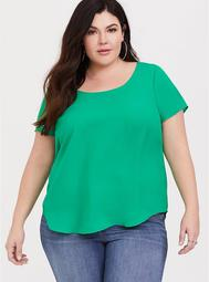 Abbey - Green Georgette Cage Back Blouse