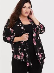 Black Floral Drape Studio Knit Cardigan