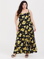 Black Floral Challis Trapeze Maxi Dress