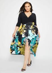 Surplice Top With Printed Skirt Dress