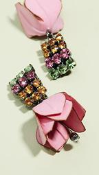 Flower and Strass Earrings