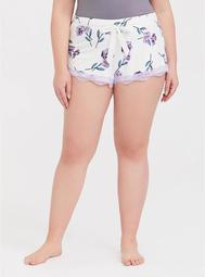 Ivory Floral Lace Sleep Short