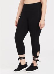 Black Lace-Up Crop Wicking Active Legging