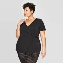 Women's Plus Size Short Sleeve V-Neck Knit Wrap Top - Ava & Viv™