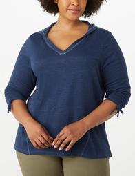 Plus Size Linen Ruched-Sleeve Hoodie