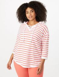 Plus Size Striped Textured Hoodie