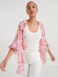 Blockprint Ruffle Kimono