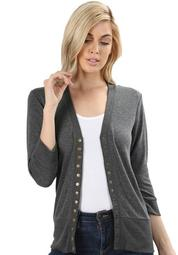 3/4 Sleeve Snap Button Sweater Cardigan-2 (Plus Size)