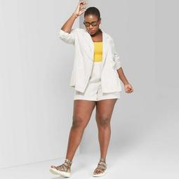 Women's Plus Size Striped Oversized Double Breasted Blazer - Wild Fable™ White