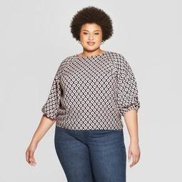 Women's Plus Size Printed 3/4 Sleeve Pleated Blouse - Ava & Viv™ Pink