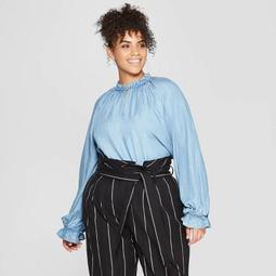Women's Plus Size Long Blouson Sleeve Crewneck Top - Who What Wear™