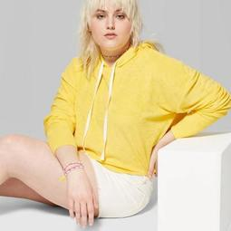 Women's Plus Size Long Sleeve Cropped Terry Hoodie - Wild Fable™ Yellow