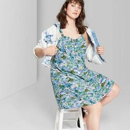 Women's Plus Size Strappy Button-Front Tropical Print Dress - Wild Fable™ Blue