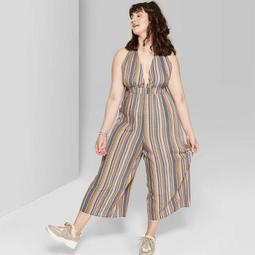 Women's Plus Size Striped Sleeveless Deep V-Neck Halter Jumpsuit - Wild Fable™