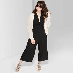 Women's Plus Size Sleeveless Deep V-Neck Halter Jumpsuit - Wild Fable™ Black