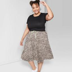 Women's Plus Size Short Sleeve Scoop Neck Smocked T-Shirt - Wild Fable™ Black
