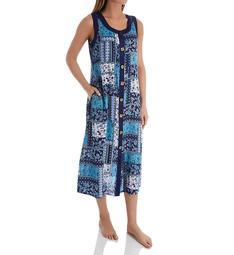 La Cera Button Front Sleeveless Lounge Dress with Pockets 2746B