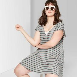 Women's Plus Size Striped Flutter Short Sleeve Deep V-Neck Knit Dress - Wild Fable™