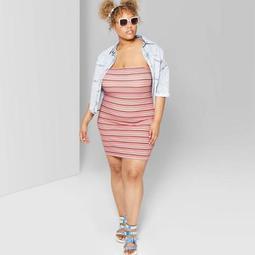 Women's Plus Size Striped Strapless Knit Tube Dress - Wild Fable™ White