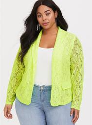Neon Green Structured Fit Lace Blazer