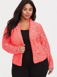 Neon Coral Structured Fit Lace Blazer