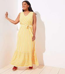 LOFT Plus Chevron Flounce Maxi Dress