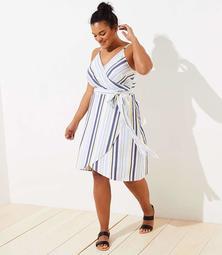 LOFT Plus Striped Strappy Wrap Dress