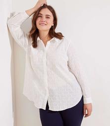 LOFT Plus Textured Dot Button Down Tunic Shirt