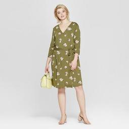 Women's Plus Size Floral Print 3/4 Sleeve Wrap Midi Dress - Ava & Viv™ Olive