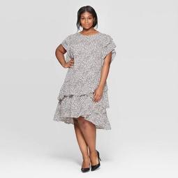 Women's Plus Size Leopard Print Short Sleeve Scoop Neck Asymmetric Hem Dress - Who What Wear™ Pink